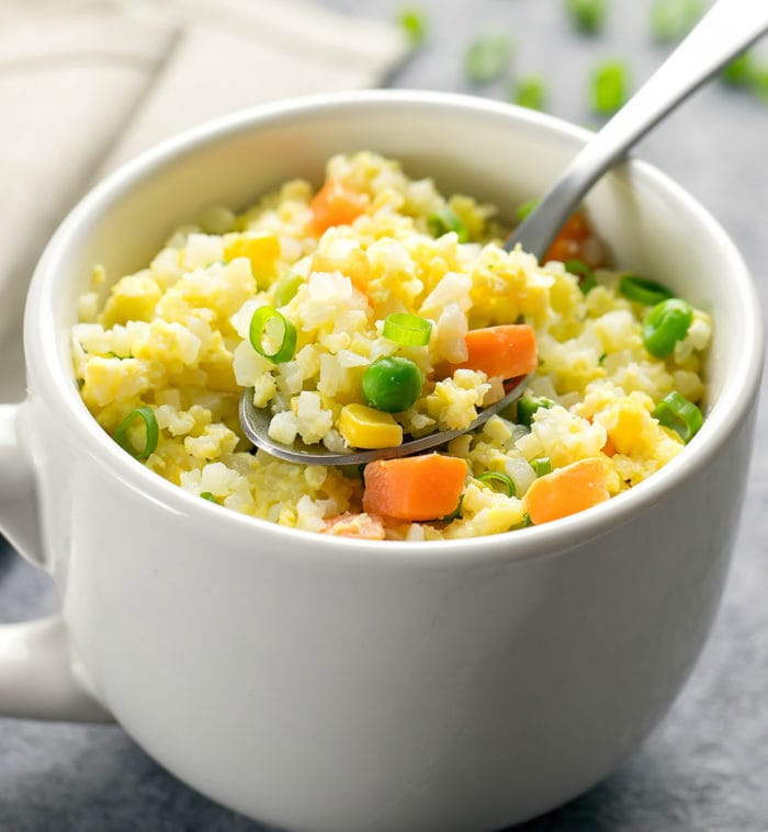 close-up photo of Cauliflower Fried Rice in a mug