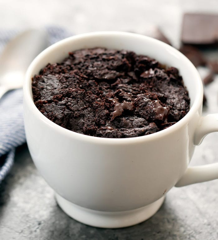 photo of a keto brownie mug cake