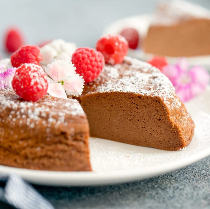 close-up photo of a Chocolate Japanese Cheesecake