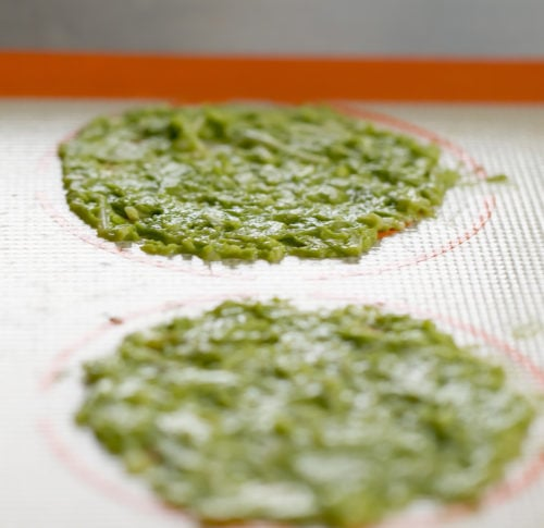 photo of the avocado chip batter spread thinly on a silpat
