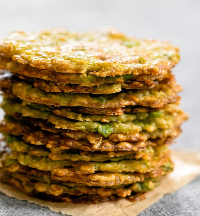 close-up photo of a stack of avocado chips