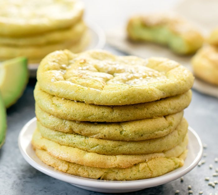close-up photo of a stack of Avocado Cloud Bread
