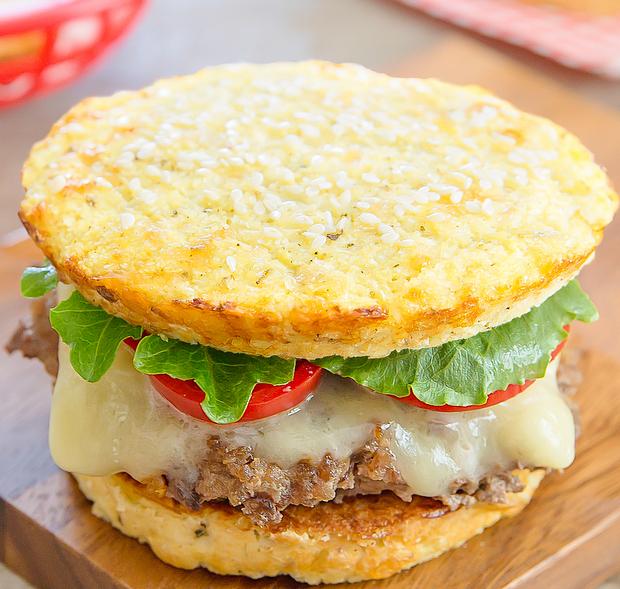 cauliflower bread buns assembled into a burger