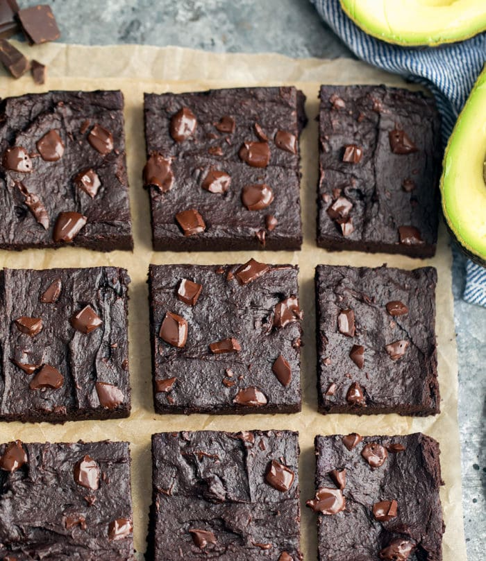 overhead photo of sliced brownies