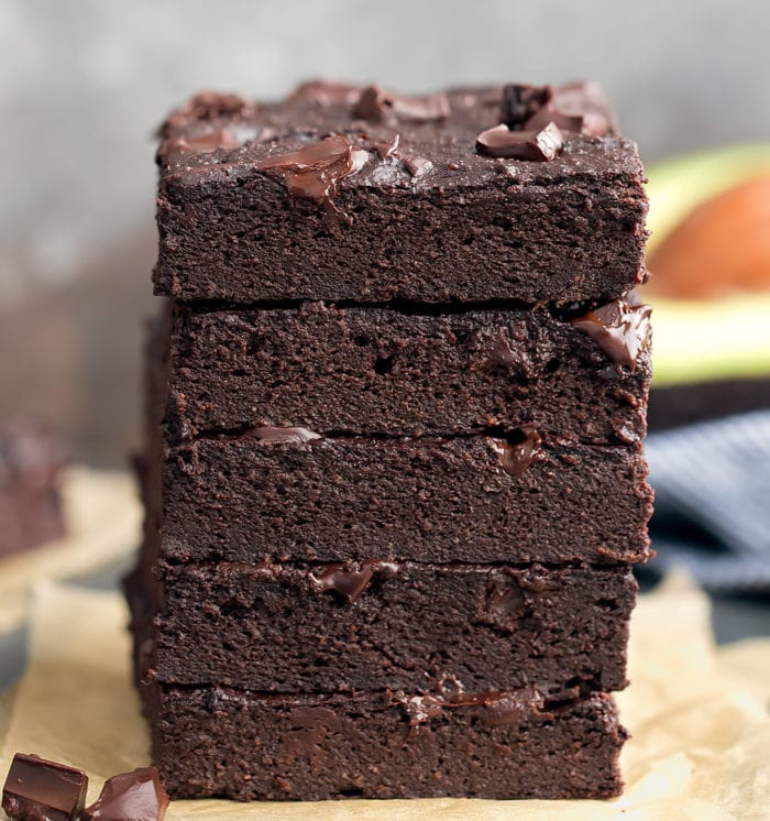 photo of a stack of Keto Avocado Brownies