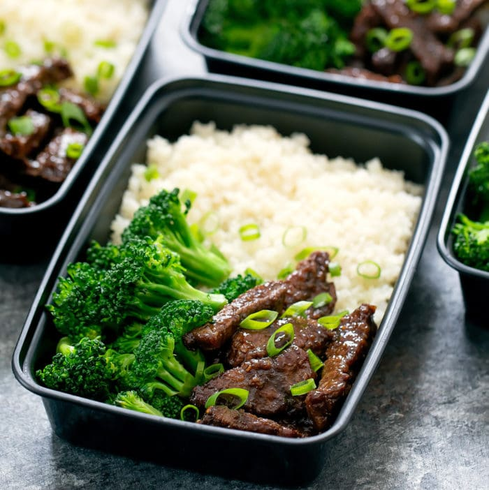 close-up photo of Mongolian Beef with rice and broccoli