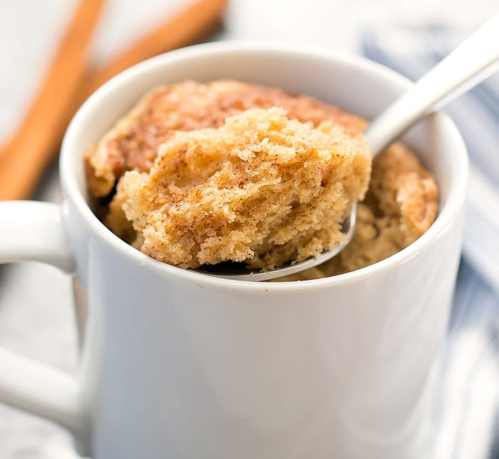 close-up photo of a spoonful of snickerdoodle mug cake