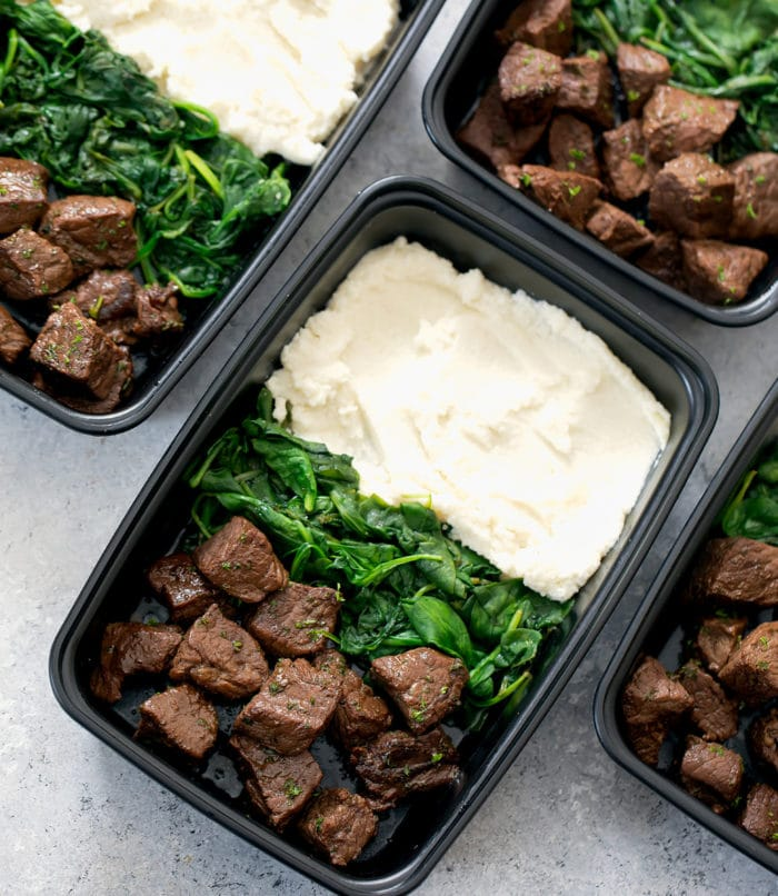 overhead photo of Steak Bites with Mashed Cauliflower