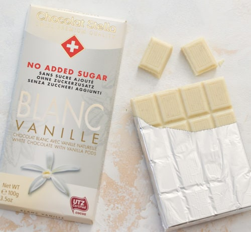 photo of a package of sugar free white chocolate