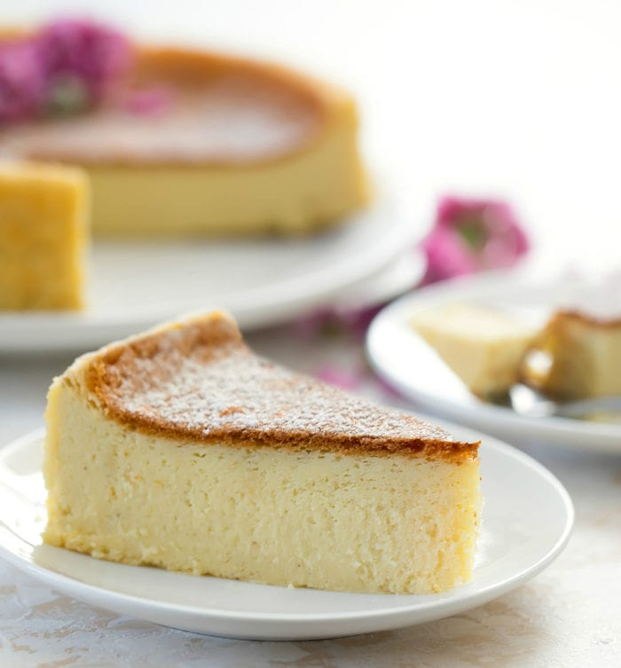 close-up photo of a slice of cheesecake