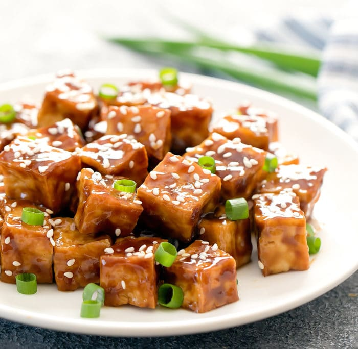 close-up photo of a plate of Crispy Sesame Tofu