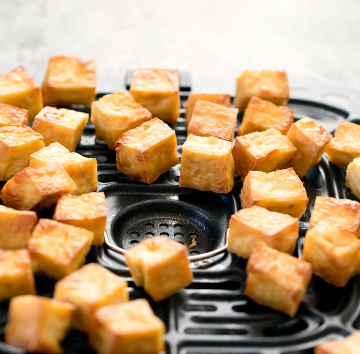 close-up photo of air-fryed tofu