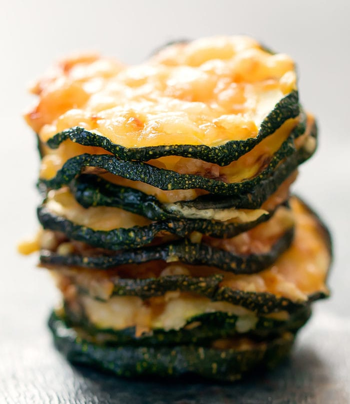 close-up photo of a stack of zucchini parmesan crisps
