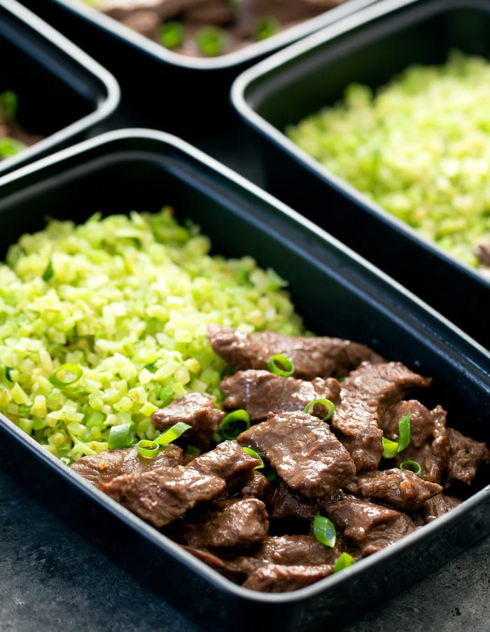 close-up photo of beef and broccoli rice