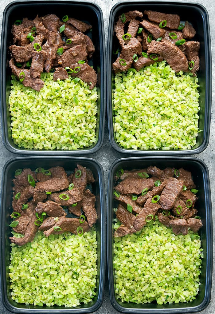 overhead photo of four containers of Beef and Broccoli Rice