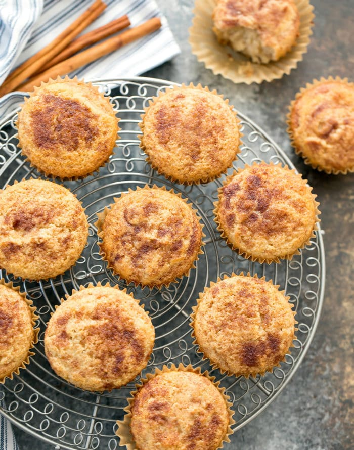 overhead photo of Keto Snickerdoodle Muffins