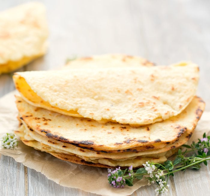 close-up photo of keto tortillas