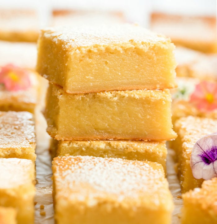 close-up photo of a stack of butter mochi