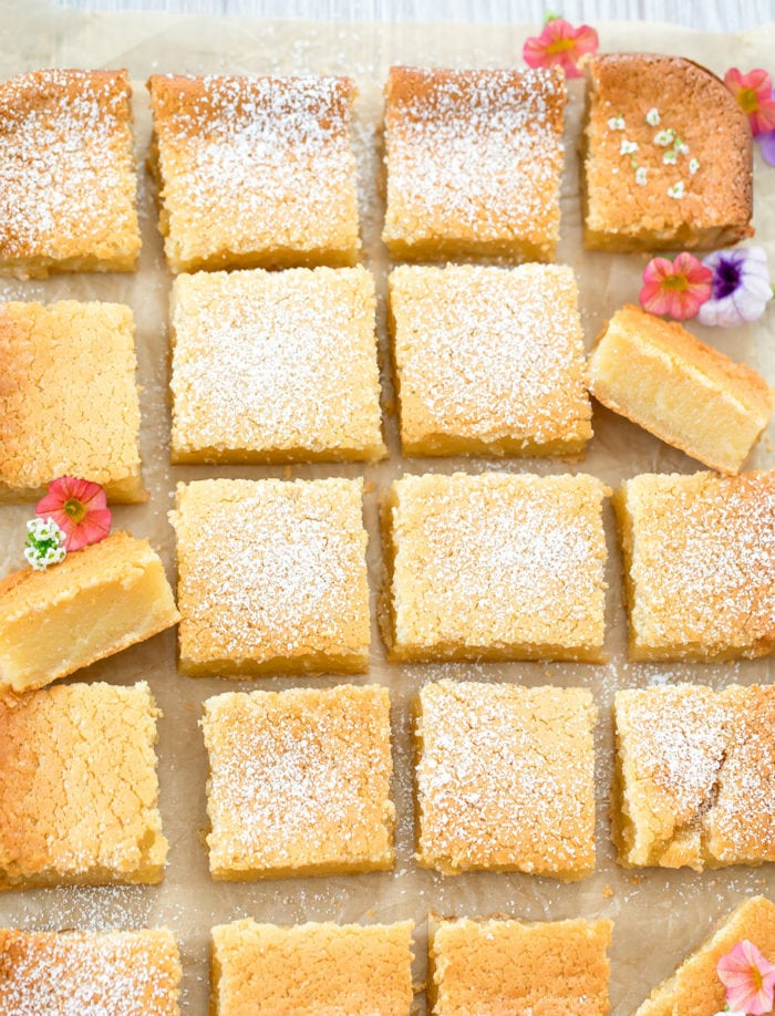 overhead photo of sliced butter mochi