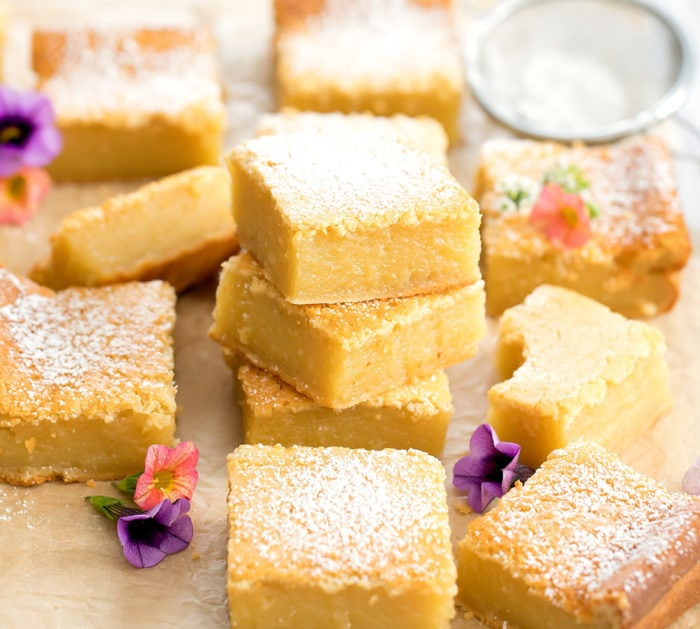 close-up photo of pieces of butter mochi