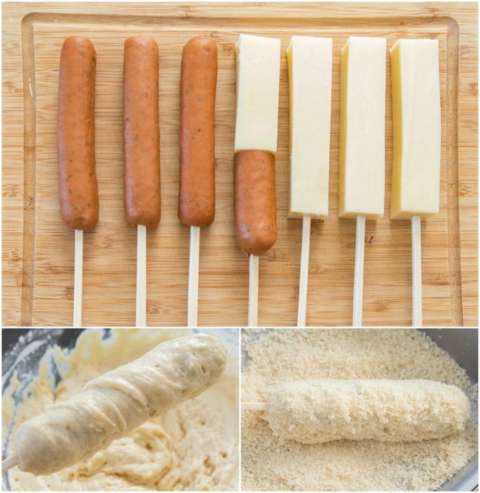 photo collage showing how to make korean hot dogs