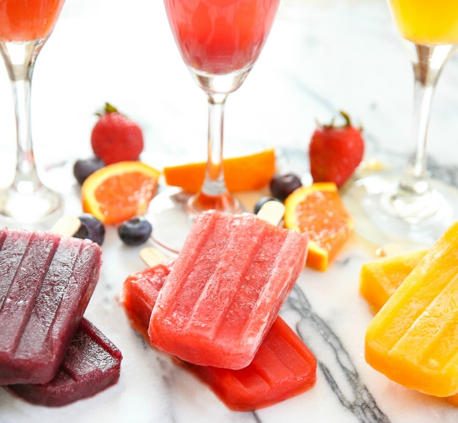 photo of 3 different mimosa ice pops flavors