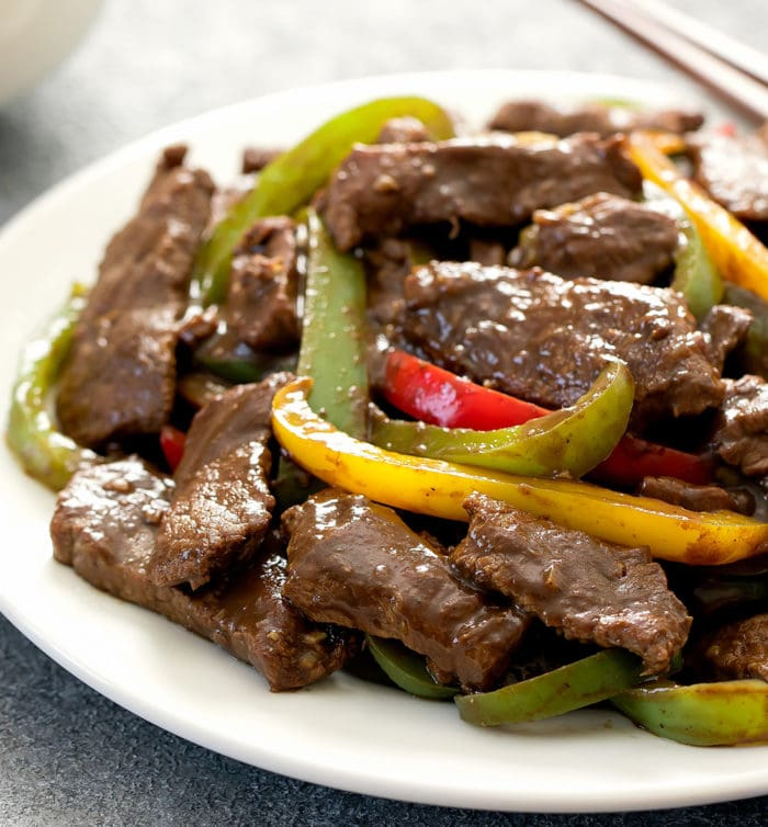 close-up photo of a plate of Chinese Pepper Steak