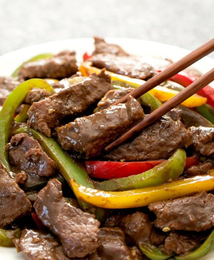 close-up photo of chinese pepper steak