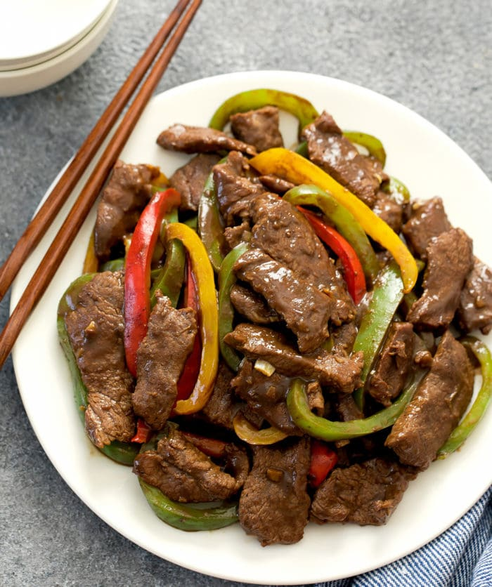 overhead photo of a plate of Chinese Pepper Steak