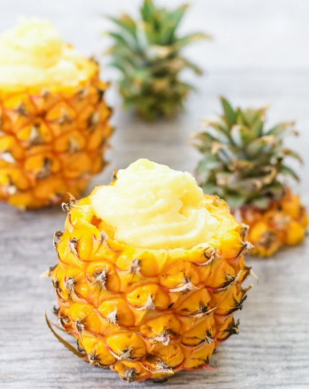 photo of pineapple dole whip served in pineapple shells