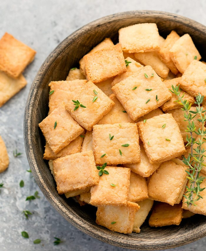 overhead photo of a bowl of cheese crackers