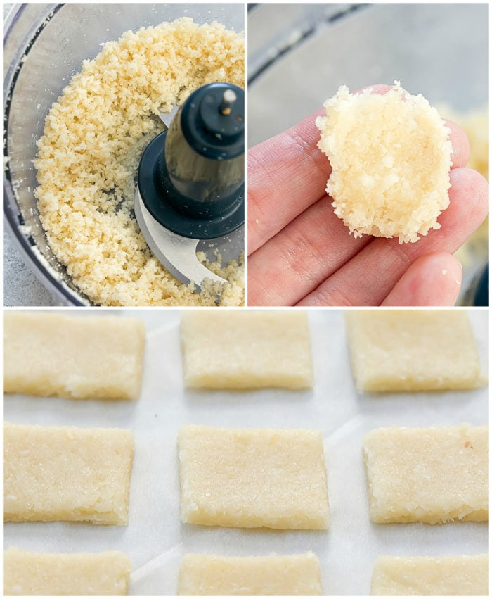 photo collage showing the steps to make cheese crackers