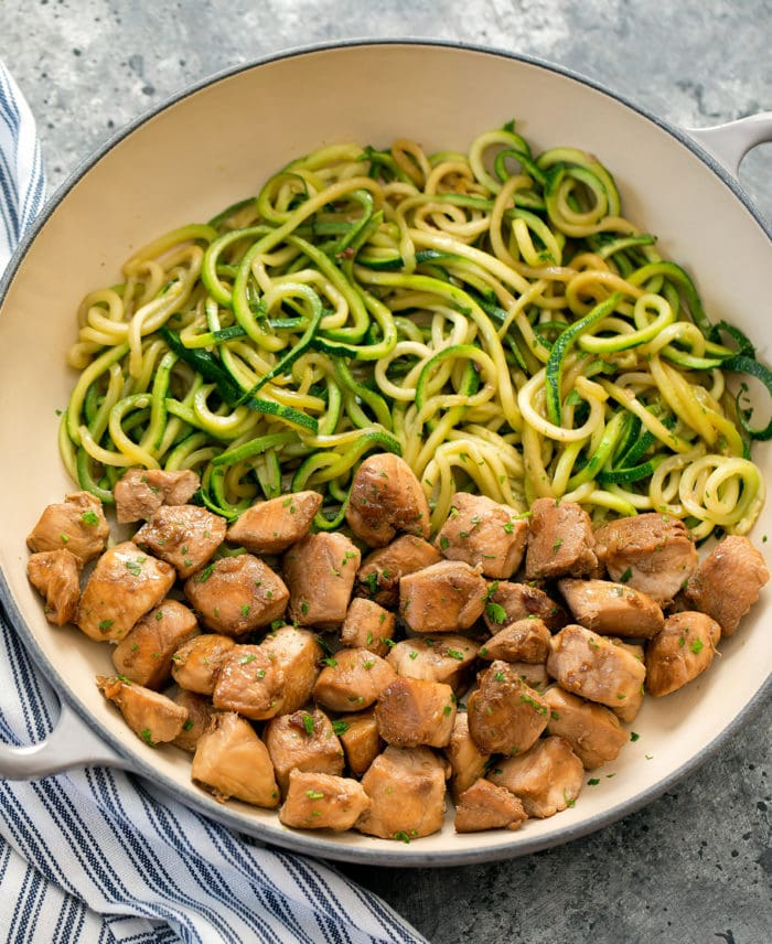 garlic butter chicken with zucchini noodles