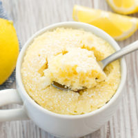 photo of a keto lemon mug cake