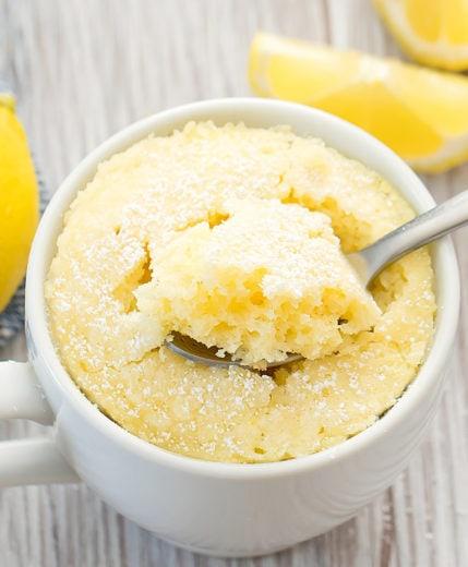 photo of a keto lemon mug cake