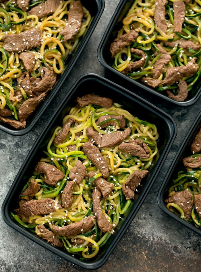 overhead photo of one container of Garlic Beef Zucchini Noodles