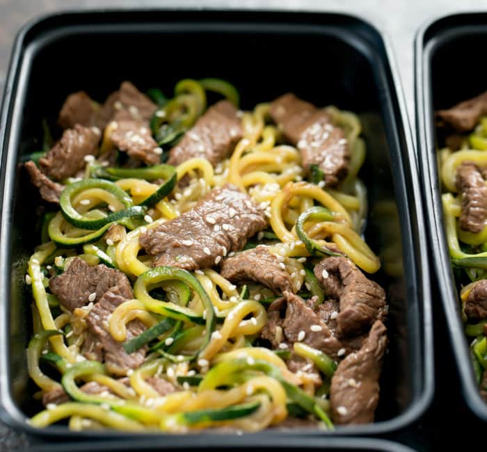 close up photo of Garlic Beef Zucchini Noodles
