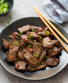 photo of a plate of hunan beef