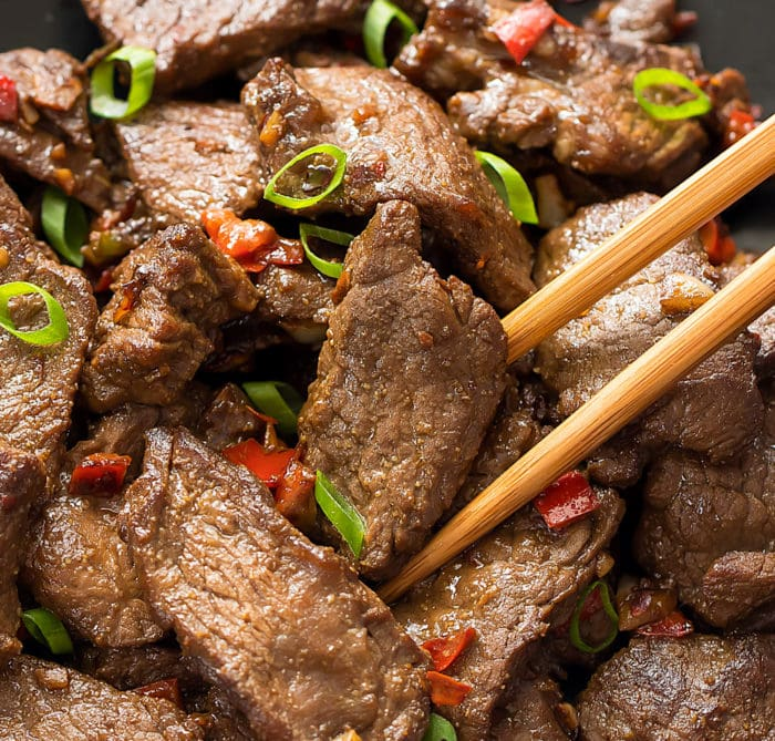 close-up photo of Spicy Hunan Beef