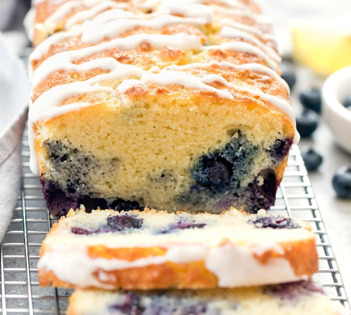 close-up photo of blueberry bread with slices cut off
