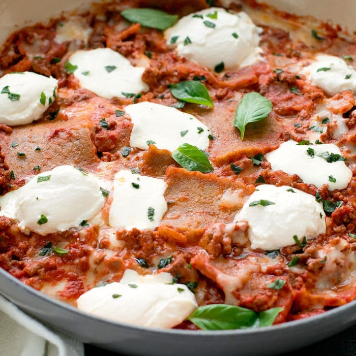 close-up photo of keto skillet lasagna