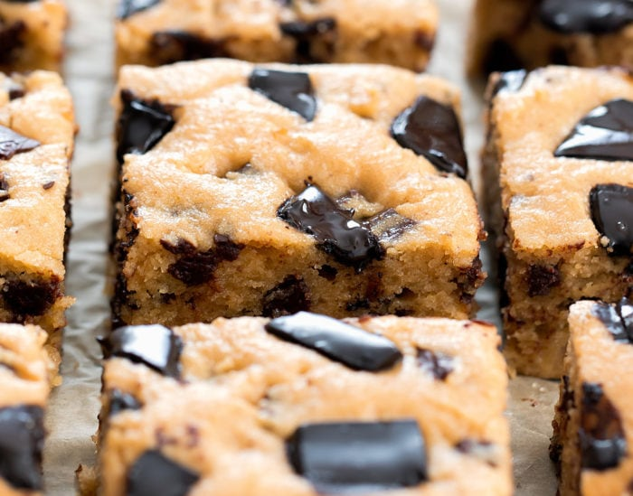 close up photo of Peanut Butter Chocolate Chip Bars