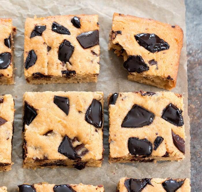 overhead photo of four peanut butter chocolate chip bars