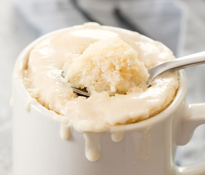 close-up spoonful of vanilla mug cake