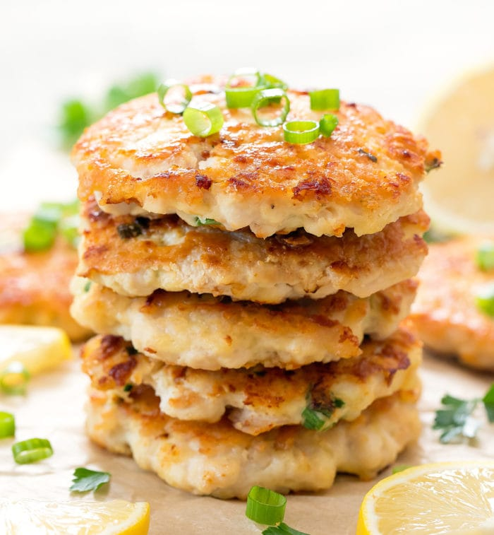 close-up photo of a stack of fritters