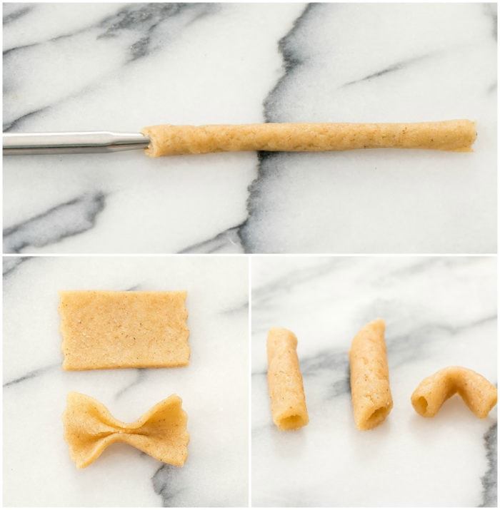 photo collage showing different pasta shapes