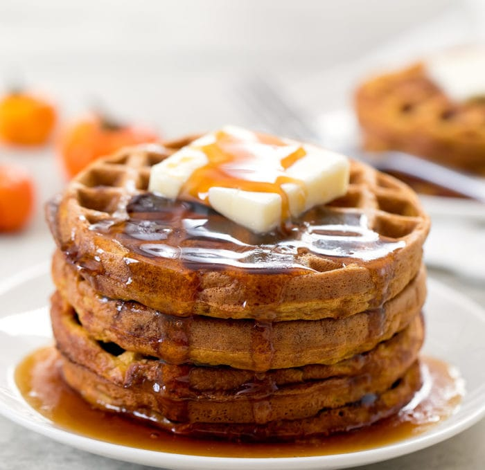 photo of chaffles topped with butter and syrup