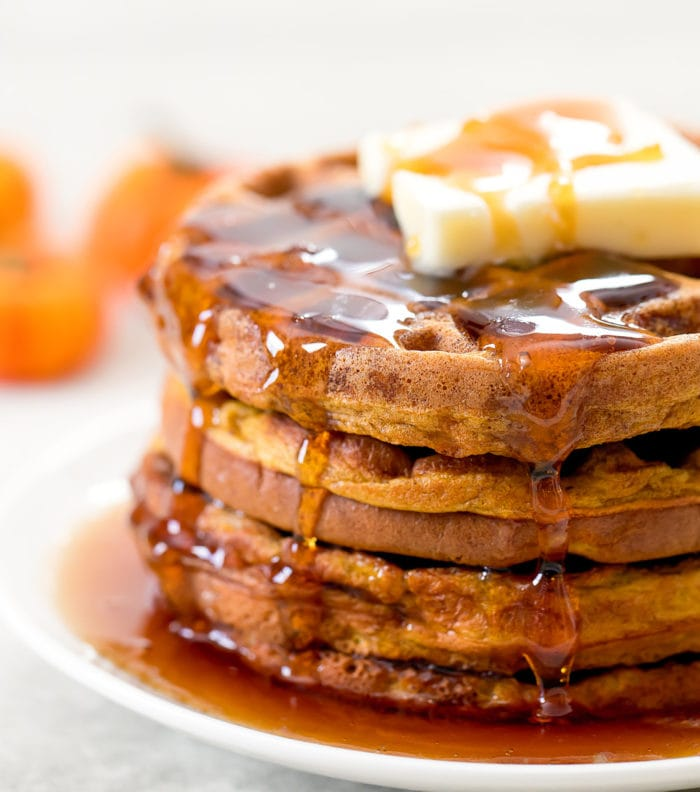 close-up photo of a stack of chaffles