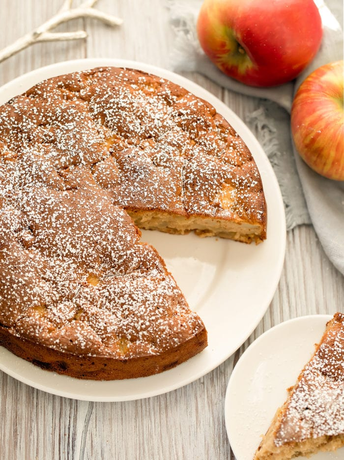overhead photo of an apple cake on a platter
