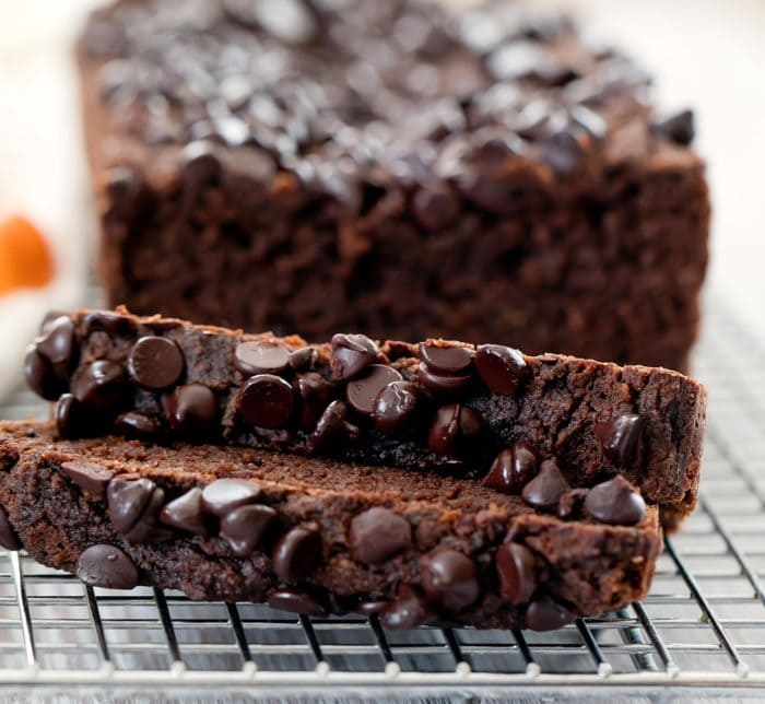 close-up photo of two slices of chocolate pumpkin bread